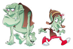 Ogre and Elf. Vector image, software: Illustrator Royalty Free Stock Images
