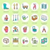 Ogrodnictwa, flancowania i horticulture kreskowe ikony, Ogród ilustracji