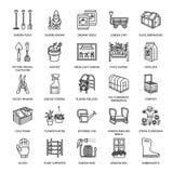 Ogrodnictwa, flancowania i horticulture kreskowe ikony, Ogrodowy wyposażenie, organicznie ziarna, użyźniacz, szklarnia, pruners royalty ilustracja
