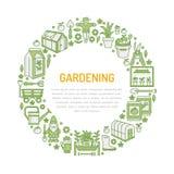 Ogrodnictwa, flancowania i horticulture sztandar z wektorem, wykłada ikonę Ogrodowy wyposażenie, organicznie ziarna, szklarniani  ilustracja wektor