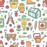 Ogrodnictwo, flancowanie i horticulture, barwiliśmy bezszwowego wzór z wektor linii ikonami Ogrodowy wyposażenie, organicznie zia royalty ilustracja