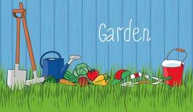 Ogrodnictwo i horticulture, sztandar ustawiający z narzędziami royalty ilustracja