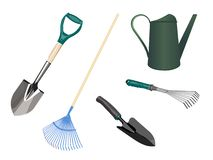 ogrodnictwo ogrodnicze narzędzia wiosny również zwrócić corel ilustracji wektora fotografia stock