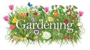 Ogrodnictwo sztandar z trawą, kwiatami i warzywem, Zdjęcie Royalty Free
