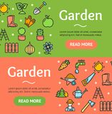 Ogrodnictwo sztandaru Horyzontalny set wektor ilustracji
