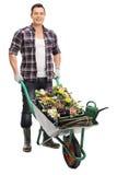 Ogrodniczka pozuje z wheelbarrow Obraz Stock