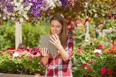 Ogrodniczka używa pastylkę Zdjęcie Royalty Free