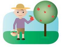 Ogrodniczka z jabłkami ilustracji