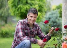 Ogrodniczka z nożycami i czerwieni różą zdjęcie royalty free