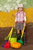 ogrodniczki dziewczyny ilustracyjny mały retro stylu wektor zdjęcia royalty free
