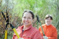 Ogrodniczki pracuje w wiosna ogródzie Zdjęcie Royalty Free