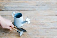 Ogrodniczki ręki zrywania świntuch uprawia ogródek narzędzia błękitny w i rocznika obraz royalty free