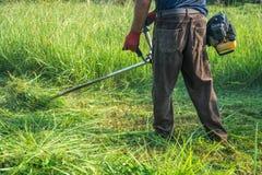 Ogrodniczki tnąca trawa gazonu kosiarzem obraz stock
