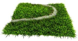 Ogrodowa ścieżka z trawy 3D renderingiem na białym tła isola Zdjęcie Royalty Free