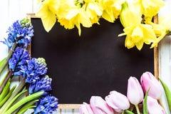 Ogrodowa świeża wiosna kwitnie na drewnianym stole Fotografia Stock