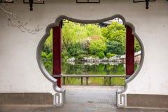 Ogrodowa brama i okno Liyuan ogród wewnątrz Zdjęcia Stock