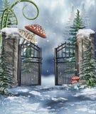 Ogrodowa brama z pieczarkami ilustracja wektor