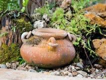 Ogrodowa dekoracja ceramicznym słojem, ceramiczny miotacz Zdjęcia Stock