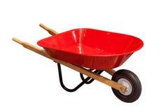 Ogrodowa wheelbarrow fura odizolowywająca na białym tle obraz royalty free