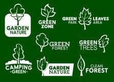 Ogrodowe natury zieleni liścia korporacyjnej tożsamości ikony ilustracja wektor