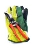 Ogrodowe rękawiczki i strzyżenie na białym odosobnionym tle Fotografia Stock