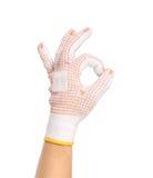 Ogrodowe rękawiczki pokazuje ok znaka. Zdjęcia Royalty Free