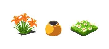 Ogrodowe rośliny, leluje i chamomiles kwiaty, gemowi interfejs użytkownika natury elementy dla wideo gier komputerowych wektorowy ilustracji
