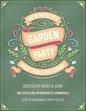 Ogrodowego przyjęcia zaproszenie z Kolorowymi kwiatami i faborkami royalty ilustracja
