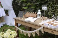Ogrodowego przyjęcia pierwszy communion Fotografia Royalty Free