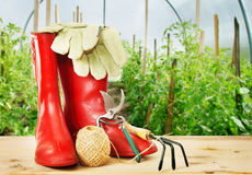 Ogrodowi narzędzia i gumowi buty Obraz Stock