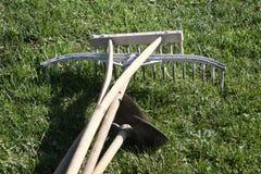 Ogrodowi narzędzia w drewnie Zdjęcia Stock