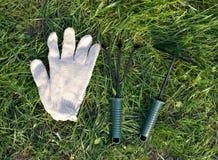 Ogrodowi narzędzia w parku Obraz Royalty Free