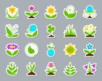 Ogrodowy łata majcheru ikon wektoru set ilustracja wektor