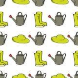 Ogrodowy bezszwowy wzór z podlewanie puszką, gumowymi butami i kapeluszem, ilustracji