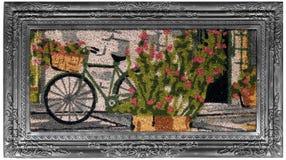 Ogrodowy cykl scenerii stylu rocznika srebro obramiał multicolor kwiat słomiankę obraz royalty free