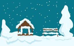 Ogrodowy dom i Drewniana ławka Zakrywający z śniegiem royalty ilustracja
