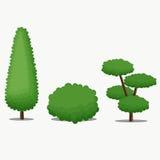 Ogrodowy drzewo z Różnym kształtem również zwrócić corel ilustracji wektora Zdjęcia Stock