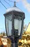 Ogrodowy lampion w wzorach od mrozu Zdjęcia Stock