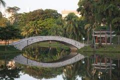 Ogrodowy park z bridżowym skrzyżowaniem nad jeziorem zdjęcie royalty free