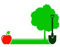 Ogrodowy tło z drzewem, łopatą i trawą, royalty ilustracja