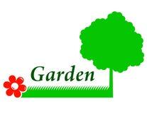 Ogrodowy tło z drzewem, trawą i kwiatem, ilustracja wektor