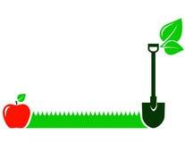 Ogrodowy tło z trawą, owoc, liść, łopata ilustracji