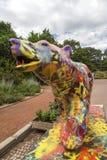 Ogrodowy tete d lub Parc De Los angeles Tete d ` w Lion Lub, Francja ogród wymieniający złoto głową dla tresor Park złota głowa w zdjęcie royalty free