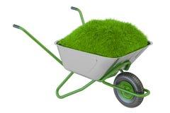 Ogrodowy wheelbarrow z glebową i zieloną trawą, 3D rendering Obrazy Royalty Free