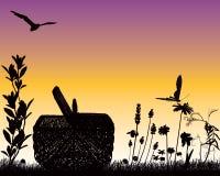 ogrodowy zmierzch ilustracja wektor