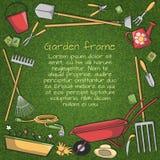 Ogrodowych narzędzi rama ilustracji