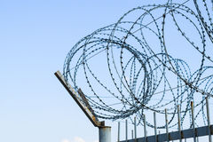 ogrodzenie drut Ochronny fechtunka szczególnie ochraniający przedmiot drut kolczasty Stemplujący drut kolczasty Zdjęcia Stock