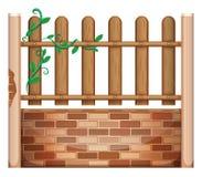 Ogrodzenie robić cegły i drewna royalty ilustracja