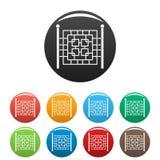 Ogrodzenie z metalu kwadrata ikonami ustawiać barwi wektor Obrazy Royalty Free