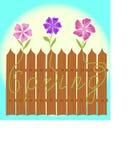 Ogrodzenie z słowo kwiatami i wiosną Obrazy Stock